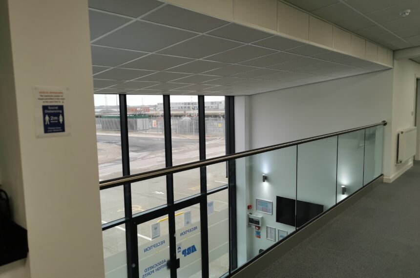 Glass & Stainless Steel Balustrade in Open Reception Area
